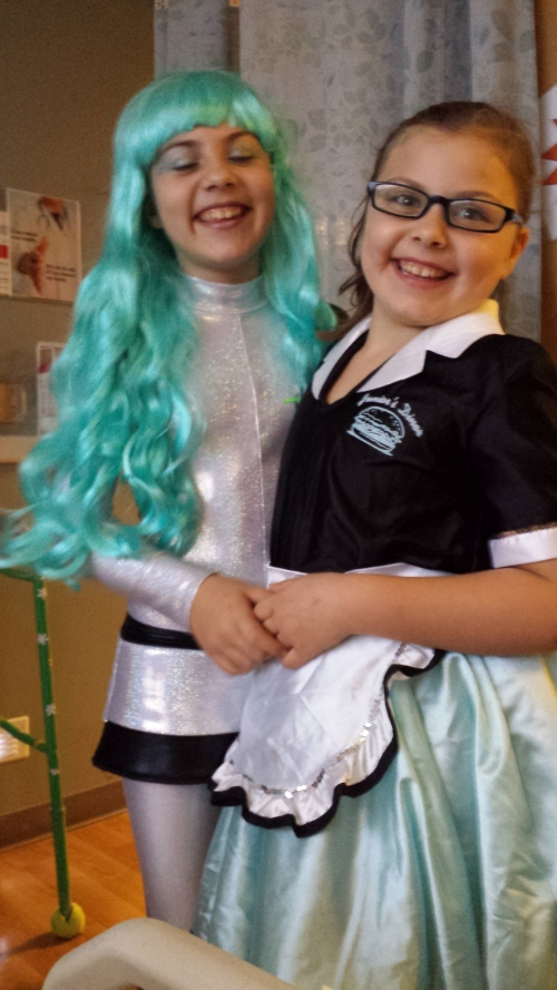 My wonderful granddaughters Sicily and Julia came to visit me in their Halloween costumes. It was so great to see them!